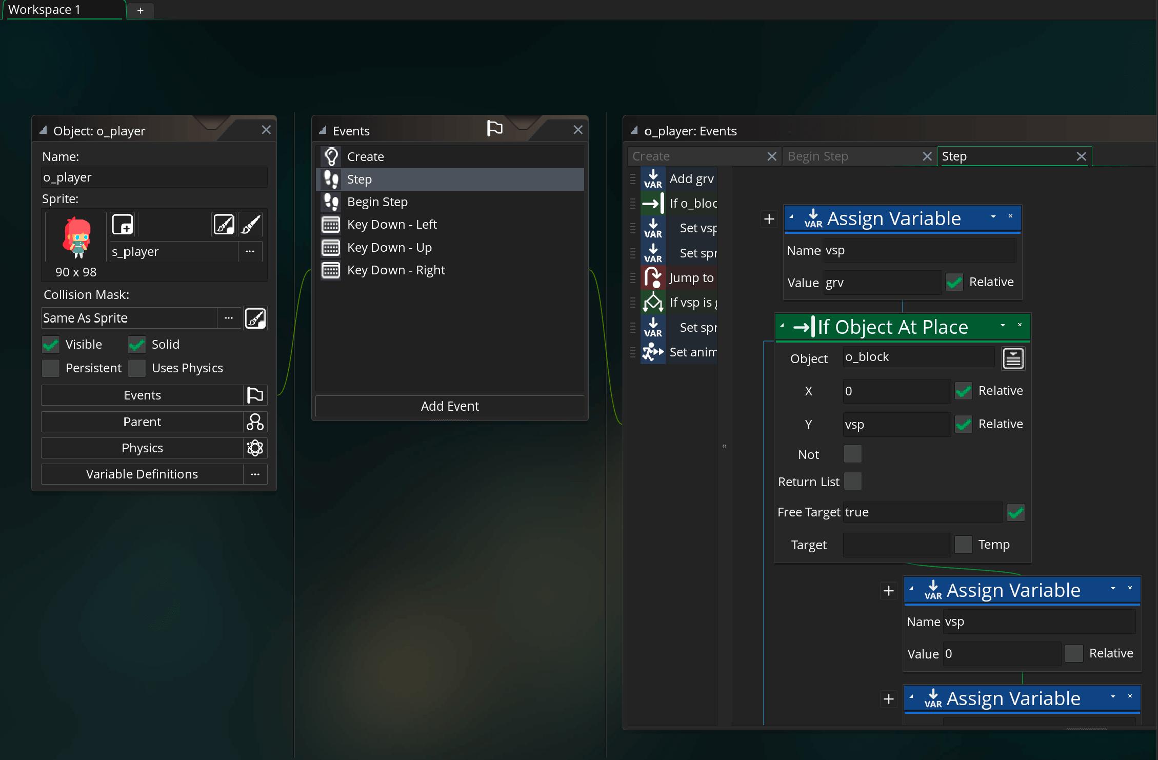 GMS2を用いた開発画面